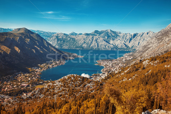 Montenegro. Panoramic landscape of mountain ridge and Kotor bay. Stock photo © Victoria_Andreas
