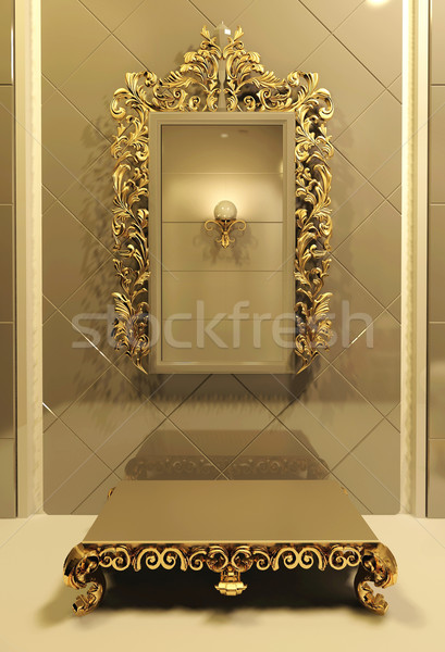 Royal mirror with gold frame in luxury interior Stock photo © Victoria_Andreas