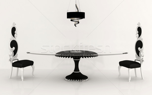 Luxurious furniture: baroque chair, chandelier and table isolete Stock photo © Victoria_Andreas