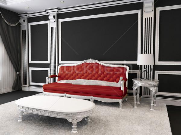 Piros bőr kanapé asztal lámpa szőrös Stock fotó © Victoria_Andreas