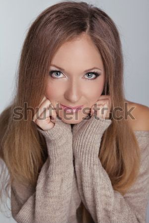 Blond meisje mooie vrouw lang steil haar mode Stockfoto © Victoria_Andreas