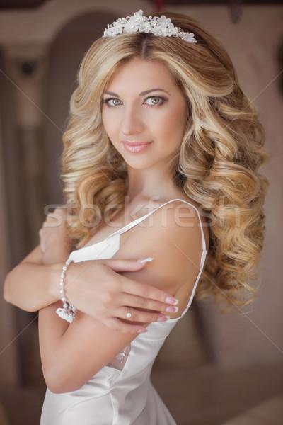 Stock fotó: Gyönyörű · mosolyog · menyasszony · lány · esküvő · nap