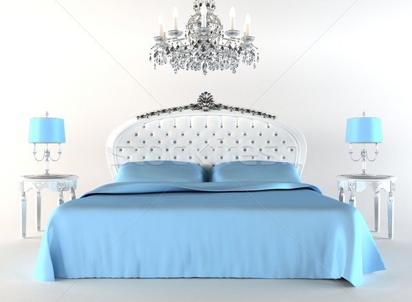 Stock photo: Modern bed tith night lamps and chandelier. Flat