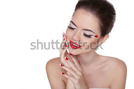 Beauty Vogue Style Fashion Model Smiling Girl with Long Lushes.  Stock photo © Victoria_Andreas
