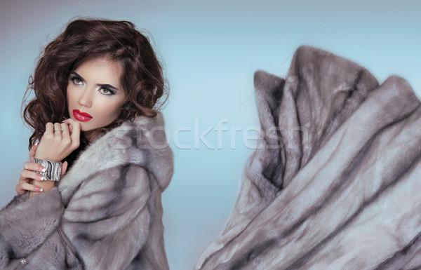 Сток-фото: красоту · моде · модель · девушки · синий · шуба