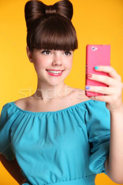 Stockfoto: Gelukkig · glimlachend · grappig · tienermeisje · foto