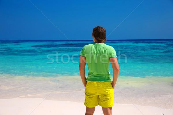 Arkadan görünüm iş adamı good life egzotik plaj Stok fotoğraf © Victoria_Andreas