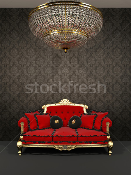 Red sofa and chandelier in royal interior  Stock photo © Victoria_Andreas