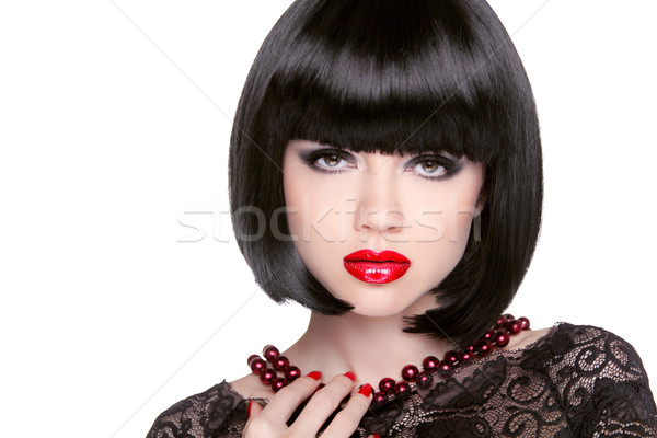 Black bob hairstyle. Red lips. Brunette Girl with short Healthy  Stock photo © Victoria_Andreas