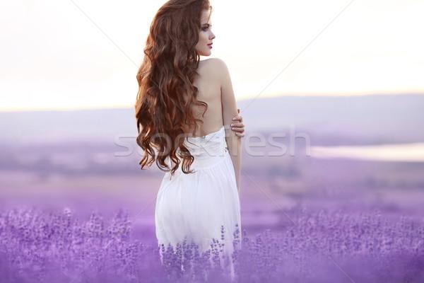 Belo mulher jovem retrato campo de lavanda atraente morena Foto stock © Victoria_Andreas