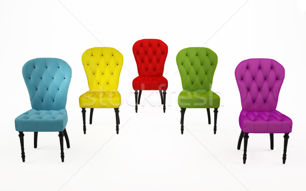 The coloured chairs, luxurious armchairs over white background Stock photo © Victoria_Andreas
