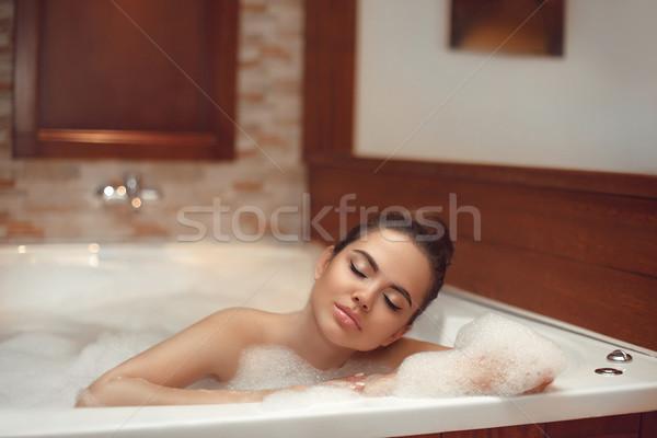 Cilt bakımı sağlıklı yaşam güzel genç kadın rahatlatıcı jakuzi Stok fotoğraf © Victoria_Andreas