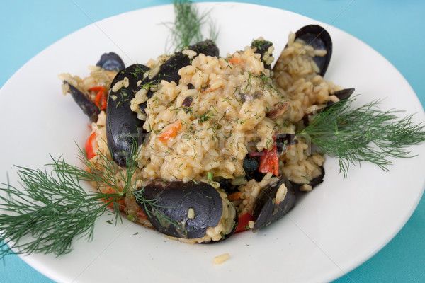 Meal Risotto Mussels Stock photo © vilevi