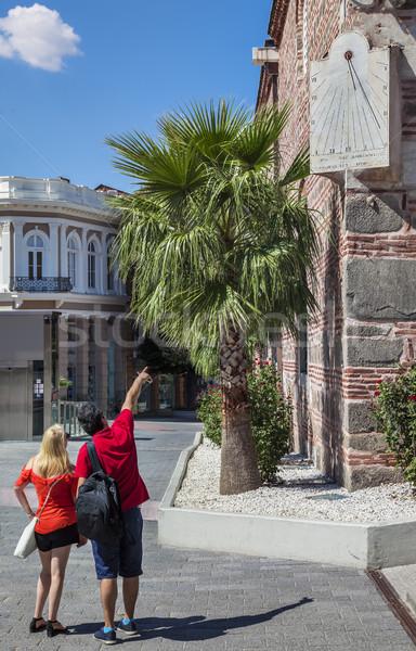 Pourist Sundial Dzhumaya Mosque Plovdiv Stock photo © vilevi