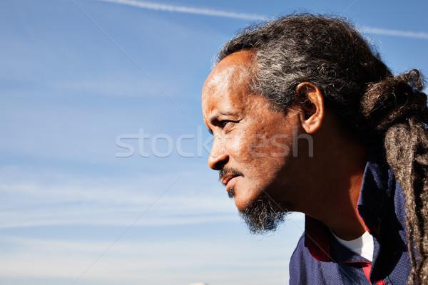 человека черный портрет небе Blue Sky улице Сток-фото © vilevi