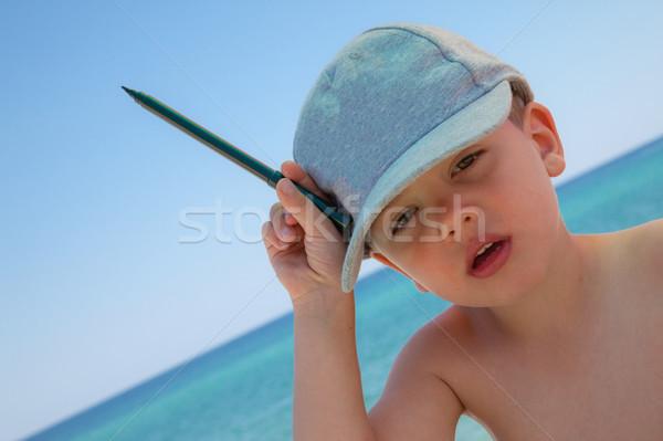 Pen mare ritratto spiaggia Foto d'archivio © vilevi