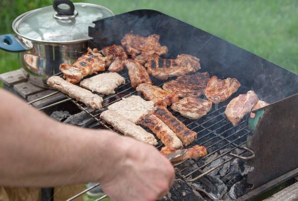 Hús barbecue BBQ fából készült faszén Stock fotó © vilevi