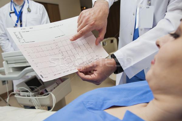 Szívdobbanás diagram szív kórház beteg kardiológia Stock fotó © vilevi