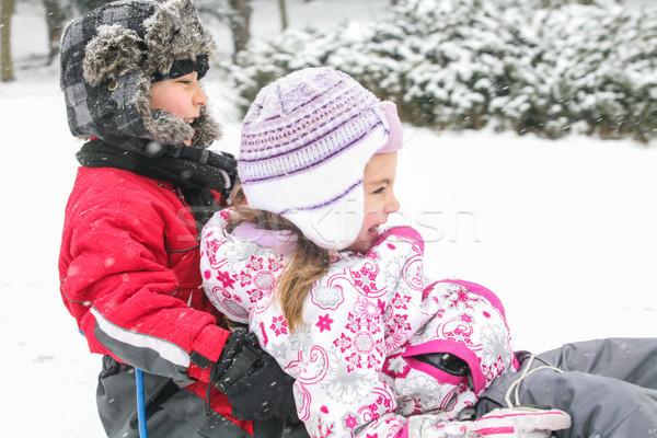 Due ragazzi felice neve giocare freddo Foto d'archivio © vilevi