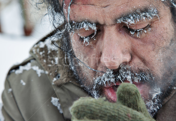 Freezing Man Snow Winter Stock photo © vilevi