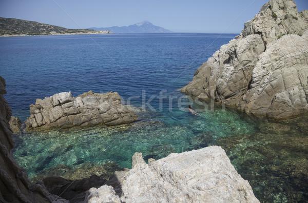 Sea Athos Greece Lagoon Stock photo © vilevi