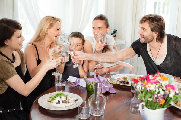 Ristorante amici pranzo gruppo casuale pasto Foto d'archivio © vilevi