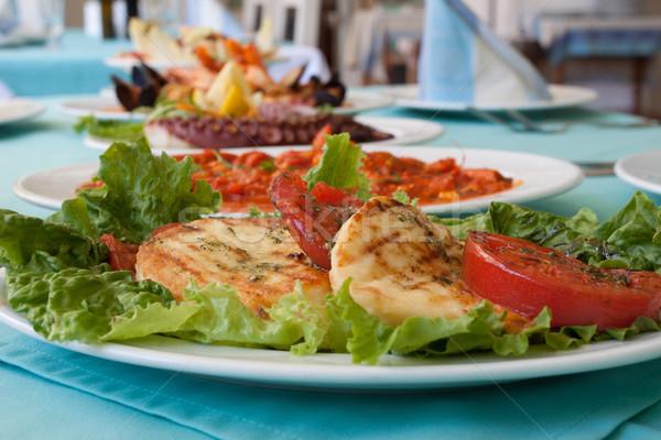 Comida queso de cabra mozzarella pesto tomate Foto stock © vilevi