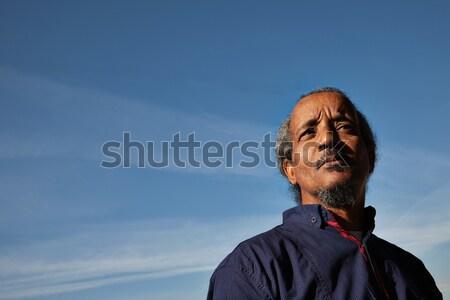 rasta man black portrait sky Stock photo © vilevi