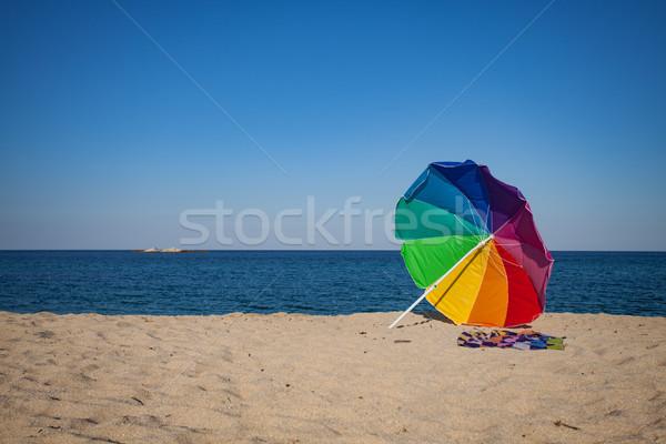 Rainbow colorato sole ombrello spiaggia colorato Foto d'archivio © vilevi