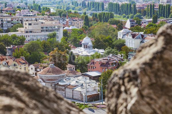 タウン ブルガリア 表示 古い 新しい 建物 ストックフォト © vilevi