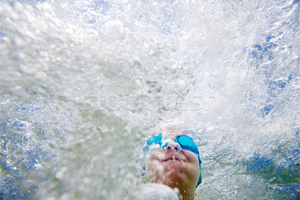 Subacquea kid copia spazio testa shot Foto d'archivio © vilevi