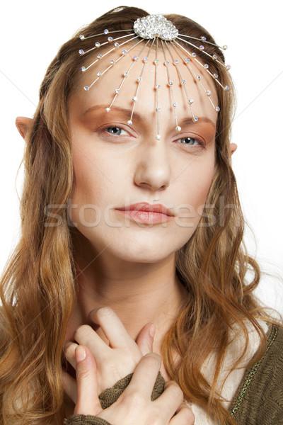 Elf belle femme portrait tiare oreilles regarder Photo stock © vilevi