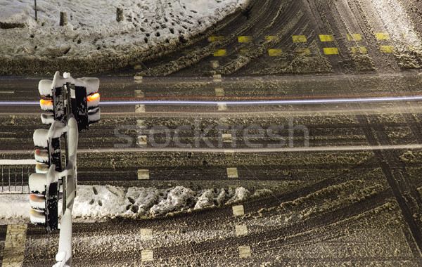 Winter snowy crossroad intersection. Stock photo © vilevi