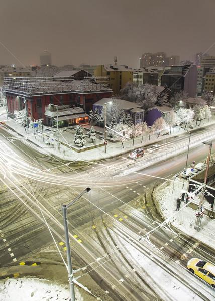 Sofía invierno edificios Bulgaria frío noche Foto stock © vilevi