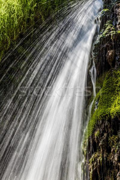 Foto stock: Em · movimento · cachoeira · movimento · turva · água · queda