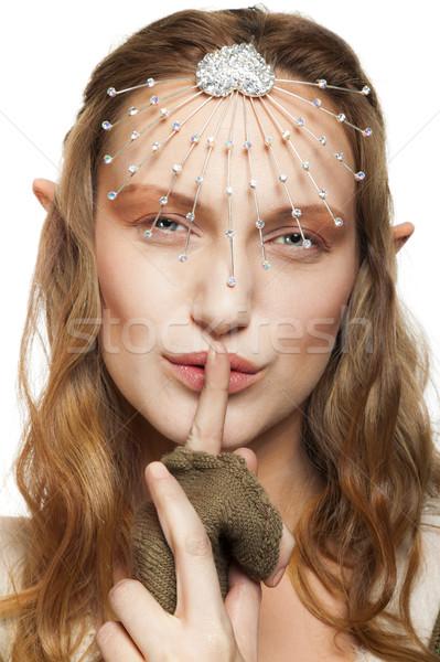Elf woman shush Stock photo © vilevi