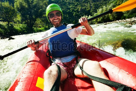 Rafting excitation excité Homme rire Photo stock © vilevi