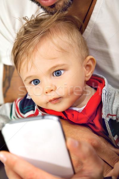 Babe smart vader oog jonge cute Stockfoto © vilevi