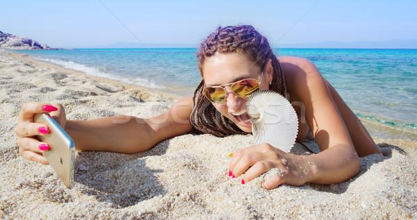 Female Beach Selfie Nautilus Stock photo © vilevi