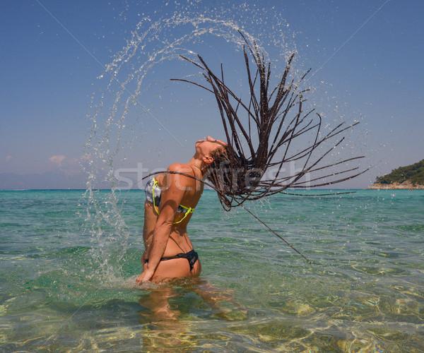 Splashing Girl Water Sea Hair Stock photo © vilevi