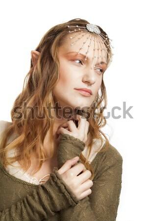 Elfo mujer hermosa retrato tiara pelo jóvenes Foto stock © vilevi