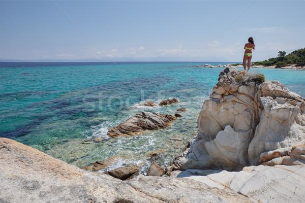 Spiaggia Grecia mare donna indietro meraviglioso Foto d'archivio © vilevi