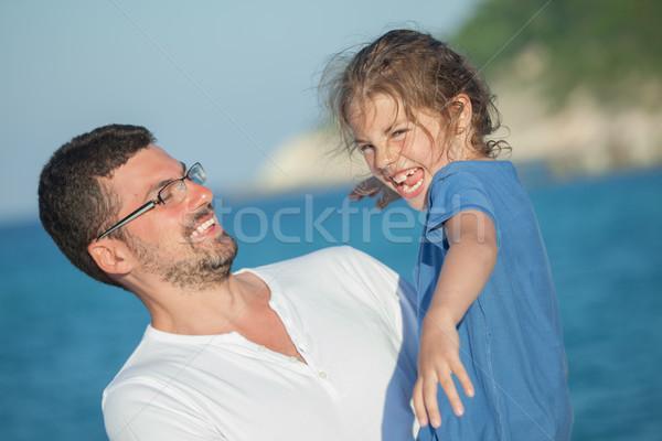 Fille fille père heureux rire réalisée Photo stock © vilevi