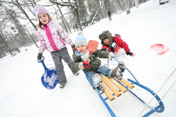 Ragazzi inverno neve divertimento tre giocare Foto d'archivio © vilevi