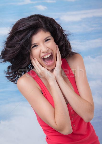 Giovani femminile urlando ridere bella Foto d'archivio © vilevi