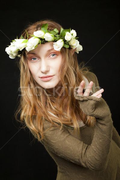 woman beauty roses peeking Stock photo © vilevi