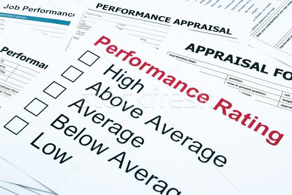 Foto stock: Rendimiento · evaluación · forma · primer · plano · evaluación