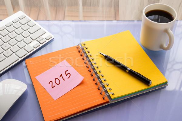2015 Neujahr Auflösung Arbeit Jahr Zahl Stock foto © vinnstock