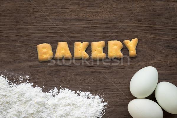 Carta galletas palabra panadería mesa de cocina superior Foto stock © vinnstock