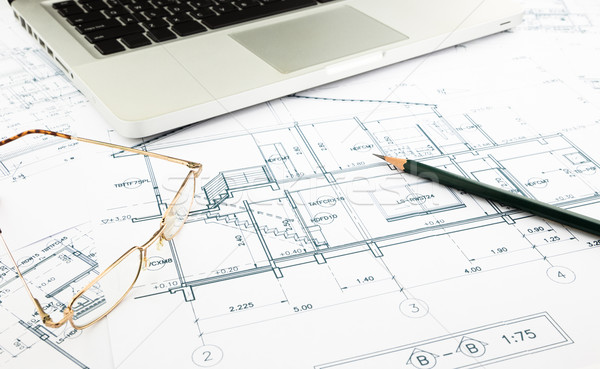 house blueprints and floor plan with keyboard Stock photo © vinnstock